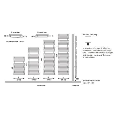 Instamat Opera badkamerradiator gebogen 124.4 x 59.8 cm wit