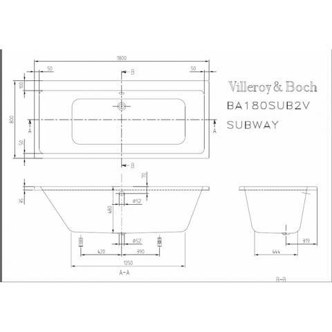 Villeroy & Boch Subway ligbad 180x80cm