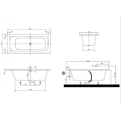 Villeroy & Boch Loop & Friends bad 170x75cm rechthoekige binnenkant