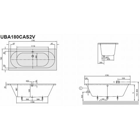 Villeroy & Boch O.novo ligbad rechthoek duo 180x80cm