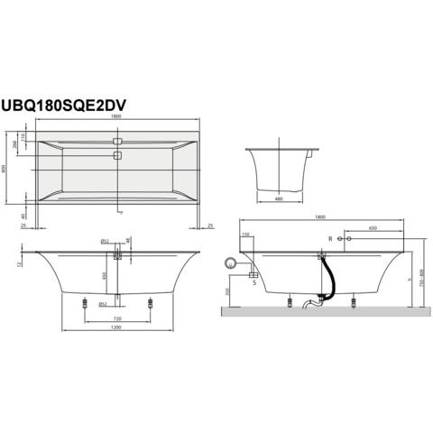 Villeroy & Boch Squaro Edge 12 ligbad 180x80cm wit