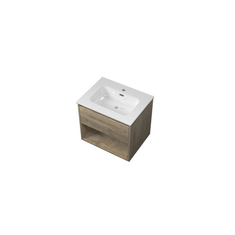 Bewonen Elegant badmeubel met open vak met keramische wastafel met 1 kraangat - Raw oak - 60x46cm (bxd)