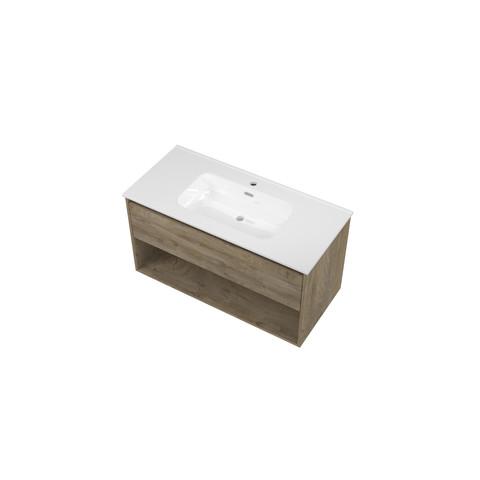 Bewonen Elegant badmeubel met open vak met keramische wastafel met 1 kraangat - Raw oak - 100x46cm (bxd)