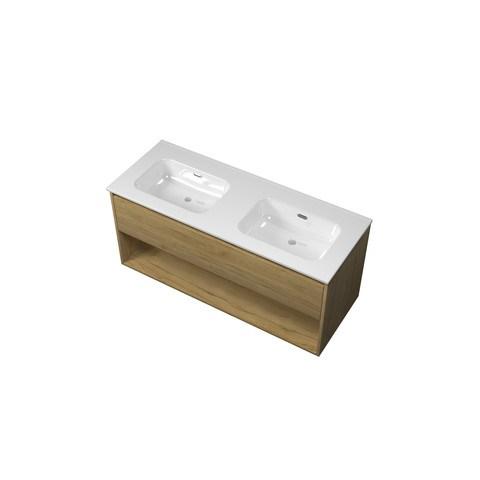 Bewonen Elegant badmeubel met open vak met keramische wastafel dubbel zonder kraangaten - Ideal oak - 120x46cm (bxd)