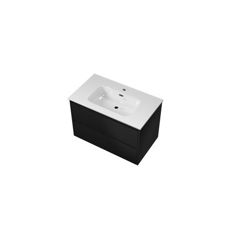 Bewonen Elegant badmeubel met keramische wastafel met 1 kraangat en onderkast symmetrisch - Mat zwart - 80x46cm (bxd)