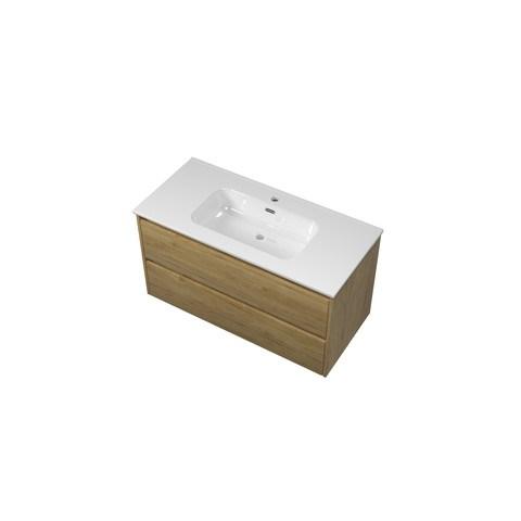 Bewonen Elegant badmeubel met keramische wastafel met 1 kraangat en onderkast symmetrisch - Ideal oak - 100x46cm (bxd)