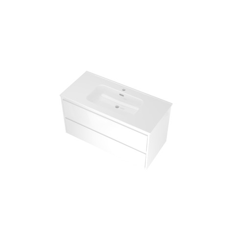 Bewonen Elegant badmeubel met keramische wastafel met 1 kraangat en onderkast symmetrisch - Glans wit - 100x46cm (bxd)