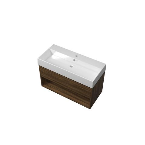 Bewonen Loft badmeubel met open vak met keramische wastafel met 1 kraangat - Cabana oak - 100x46cm (bxd)