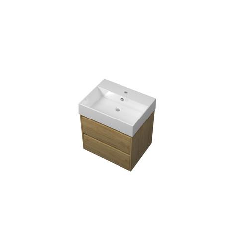 Bewonen Loft badmeubel met keramische wastafel met 1 kraangat en onderkast symmetrisch - Ideal oak - 60x46cm (bxd)