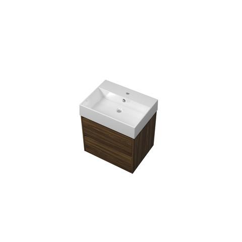 Proline Loft badmeubel met keramische wastafel met 1 kraangat en onderkast symmetrisch - Cabana oak - 60x46cm (bxd)