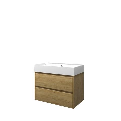 Proline Loft badmeubel met keramische wastafel zonder kraangat en onderkast symmetrisch - Ideal oak - 80x46cm (bxd)