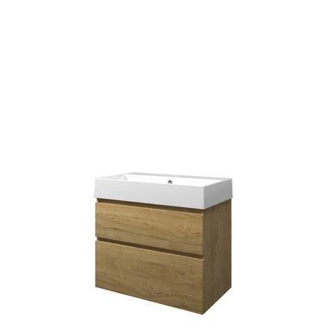 Bewonen Loft badmeubel met keramische wastafel met 1 kraangat en onderkast a-symmetrisch - Ideal oak - 80x46cm (bxd)