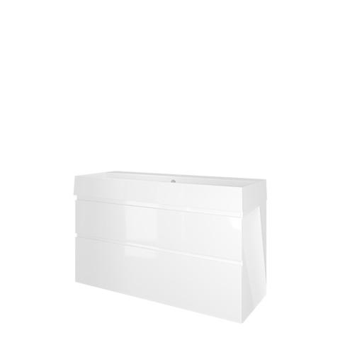 Proline Loft badmeubel met keramische wastafel met 1 kraangat en onderkast a-symmetrisch - Glans wit - 120x46cm (bxd)