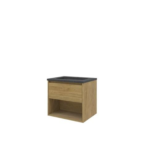 Bewonen Elegant badmeubel met open vak met hardsteen wastafel met 1 kraangat - Ideal oak - 60x46cm (bxd)