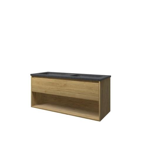 Bewonen Elegant badmeubel met open vak met hardsteen wastafel met 2 kraangaten - Ideal oak - 120x46cm (bxd)