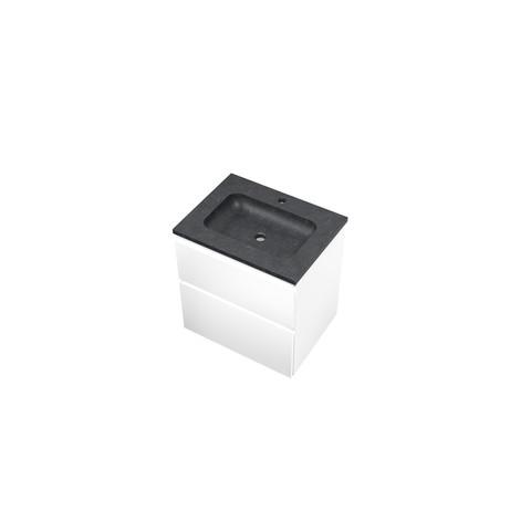 Bewonen Elegant badmeubel met hardsteen wastafel met 1 kraangat en onderkast a-symmetrisch - Mat wit - 60x46cm (bxd)