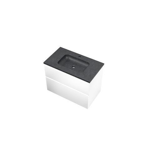Bewonen Elegant badmeubel met hardsteen wastafel met 1 kraangat en onderkast a-symmetrisch - Mat wit - 80x46cm (bxd)