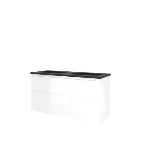Bewonen Elegant badmeubel met hardsteen wastafel met 2 kraangaten en onderkast 4 laden a-symmetrisch - Glans wit - 120x46cm (bxd)