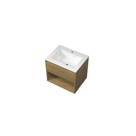Bewonen Elegant badmeubel met open vak met polystone wastafel met 1 kraangat - Ideal oak/Glans wit - 60x46cm (bxd)