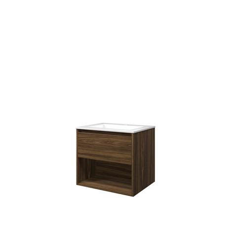 Bewonen Elegant badmeubel met open vak met polystone wastafel met 1 kraangat - Cabana oak/Glans wit - 60x46cm (bxd)