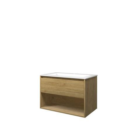 Bewonen Elegant badmeubel met open vak met polystone wastafel met 1 kraangat - Ideal oak/Glans wit - 80x46cm (bxd)
