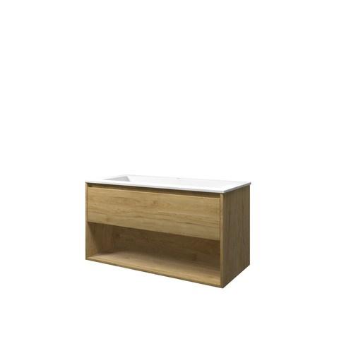Bewonen Elegant badmeubel met open vak met polystone wastafel met 1 kraangat - Ideal oak/Mat wit - 100x46cm (bxd)