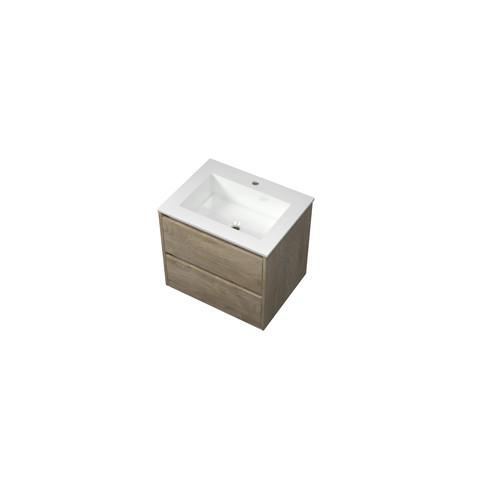 Bewonen Elegant badmeubel met polystone wastafel met 1 kraangat en onderkast symmetrisch - Raw oak/Glans wit - 60x46cm (bxd)