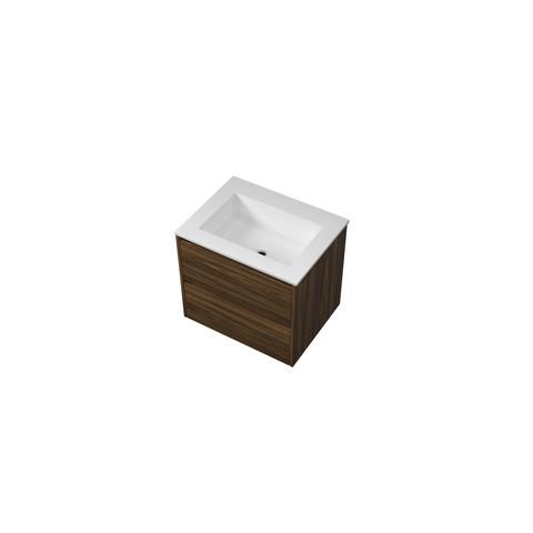 Bewonen Elegant badmeubel met polystone wastafel zonder kraangat en onderkast symmetrisch - Cabana oak/Mat wit - 60x46cm (bxd)