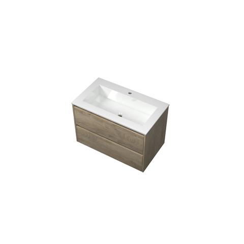 Bewonen Elegant badmeubel met polystone wastafel met 1 kraangat en onderkast symmetrisch - Raw oak/Glans wit - 80x46cm (bxd)