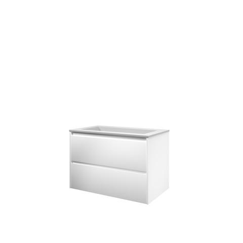 Bewonen Elegant badmeubel met polystone wastafel zonder kraangat en onderkast symmetrisch - Mat wit/ Mat wit - 80x46cm (bxd)