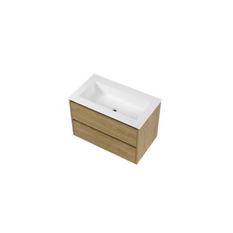 Bewonen Elegant badmeubel met polystone wastafel met 1 kraangat en onderkast symmetrisch - Ideal oak/Mat wit - 80x46cm (bxd)
