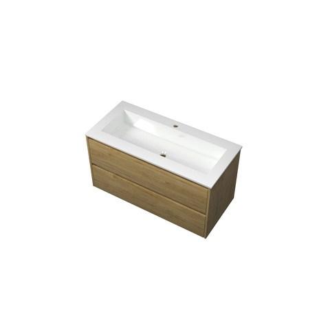 Bewonen Elegant badmeubel met polystone wastafel met 1 kraangat en onderkast symmetrisch - Ideal oak/Glans wit - 100x46cm (bxd)