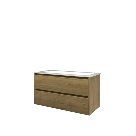 Bewonen Elegant badmeubel met polystone wastafel met 2 kraangaten en onderkast symmetrisch - Ideal oak/Glans wit - 100x46cm (bxd)