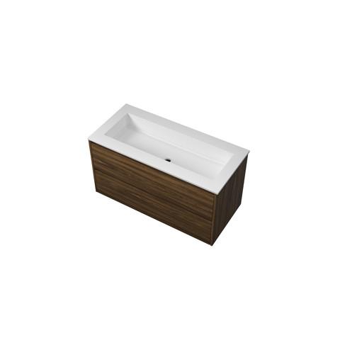 Bewonen Elegant badmeubel met polystone wastafel zonder kraangat en onderkast symmetrisch - Cabana oak/Mat wit - 100x46cm (bxd)
