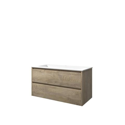 Bewonen Elegant badmeubel met polystone wastafel met 1 kraangat en onderkast symmetrisch - Raw oak/Mat wit - 100x46cm (bxd)