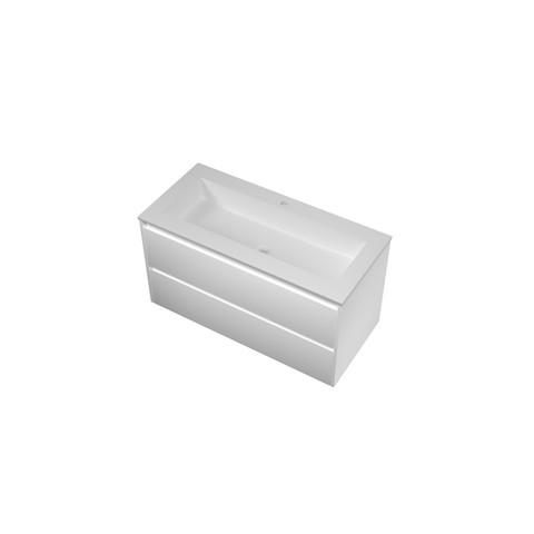 Bewonen Elegant badmeubel met polystone wastafel met 1 kraangat en onderkast symmetrisch - Mat wit/ Mat wit - 100x46cm (bxd)