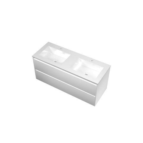 Bewonen Elegant badmeubel met polystone wastafel met 2 kraangaten en onderkast symmetrisch - Mat wit/Glans wit - 120x46cm (bxd)