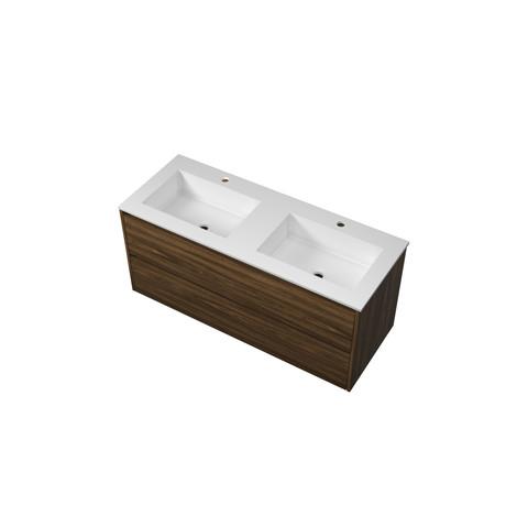 Bewonen Elegant badmeubel met polystone wastafel met 2 kraangaten en onderkast symmetrisch - Cabana oak/Mat wit - 120x46cm (bxd)