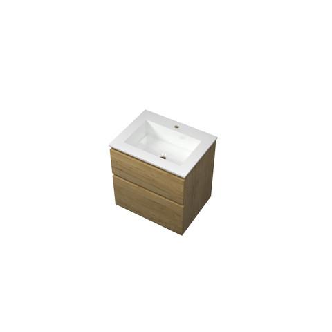 Bewonen Elegant badmeubel met polystone wastafel met 1 kraangat en onderkast a-symmetrisch - Ideal oak/Glans wit - 60x46cm (bxd)