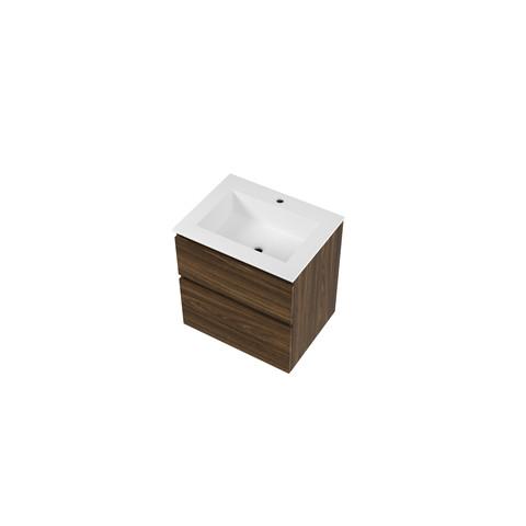 Bewonen Elegant badmeubel met polystone wastafel met 1 kraangat en onderkast a-symmetrisch - Cabana oak/Glans wit - 60x46cm (bxd)