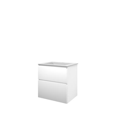 Bewonen Elegant badmeubel met polystone wastafel met 1 kraangat en onderkast a-symmetrisch - Mat wit/ Mat wit - 60x46cm (bxd)