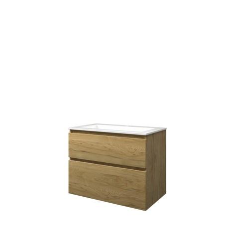 Bewonen Elegant badmeubel met polystone wastafel met 1 kraangat en onderkast a-symmetrisch - Ideal oak/Glans wit - 80x46cm (bxd)