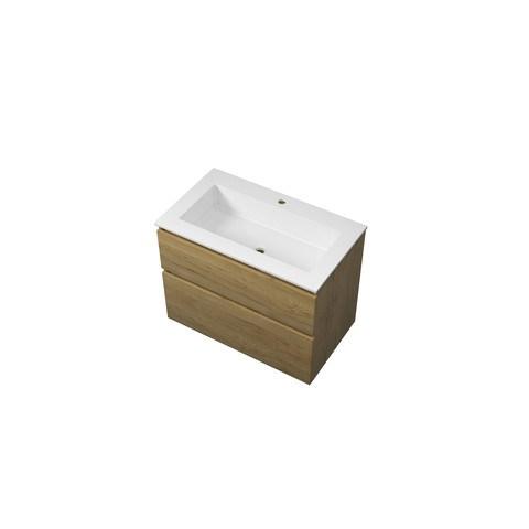 Bewonen Elegant badmeubel met polystone wastafel met 1 kraangat en onderkast a-symmetrisch - Ideal oak/Mat wit - 80x46cm (bxd)