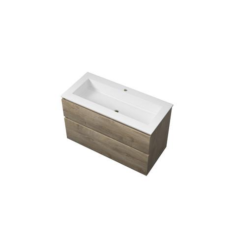 Bewonen Elegant badmeubel met polystone wastafel met 1 kraangat en onderkast a-symmetrisch - Raw oak/Mat wit - 100x46cm (bxd)