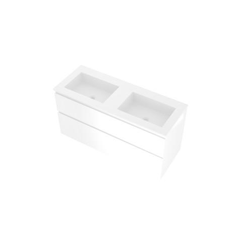 Proline Elegant badmeubel met polystone wastafel zonder kraangaten en onderkast a-symmetrisch - Glans wit/Glans wit - 120x46cm (bxd)