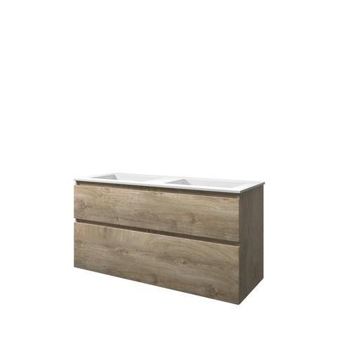 Bewonen Elegant badmeubel met polystone wastafel zonder kraangaten en onderkast a-symmetrisch - Raw oak/Mat wit - 120x46cm (bxd)