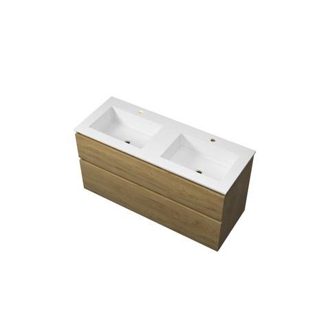 Bewonen Elegant badmeubel met polystone wastafel met 2 kraangaten en onderkast a-symmetrisch - Ideal oak/Mat wit - 120x46cm (bxd)