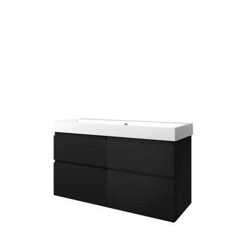 Bewonen Elegant badmeubel met polystone wastafel met 2 kraangaten en onderkast 4 laden a-symmetrisch - Mat zwart/Glans wit - 120x46cm (bxd)