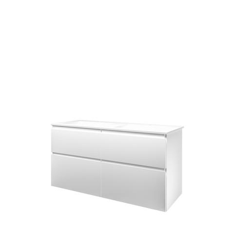Bewonen Elegant badmeubel met polystone wastafel met 2 kraangaten en onderkast 4 laden a-symmetrisch - Mat wit/ Mat wit - 120x46cm (bxd)