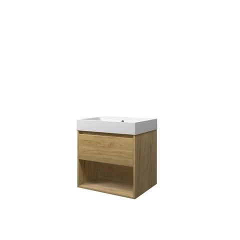 Bewonen Loft badmeubel met open vak met polystone wastafel met 1 kraangat - Ideal oak/Mat wit - 60x46cm (bxd)